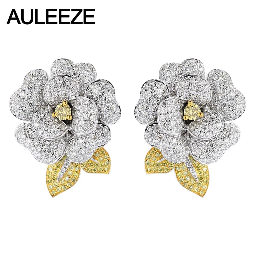 AULEEZE 14K White Gold Natural Yellow Sapphire Clip Earrings Elegant Camellia Moissanite Diamond Earrings Wedding Party Earrings