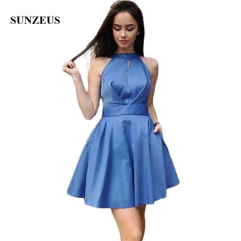 Blue Satin Short Homecoming Dresses with Pockets Open Back Above Knee Mini Graduation Dresses robe boule courte SHD10
