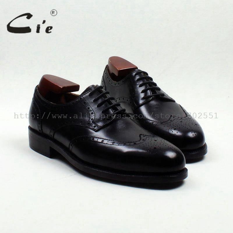 cie Round Toe Full Brogues Cut-Outs Solid Black Handmade Derby Men's Leather Shoe 100% Genuine Calf Leather Goodyear Welted D175