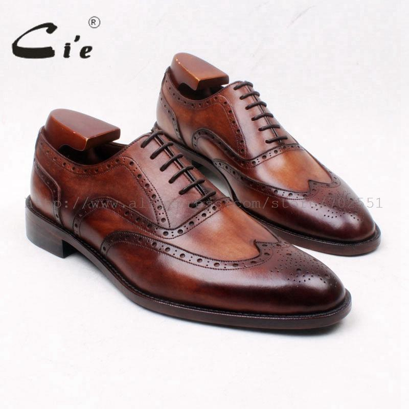 cie Round Toe Full Brogues Lace-Up Oxfords Patina Brown 100%Genuine Calf Leather bottom Outsole Men's Leather Dress Shoe OX662