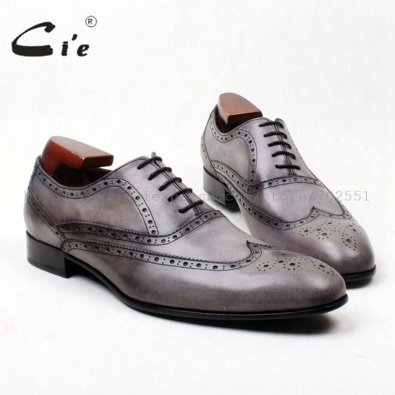 cie Free Shipping Bespoke Handmade Round Toe Calf Leather Outsole Leisure Men's Dress Casual Full Brogues Oxford Grey shoe OX623