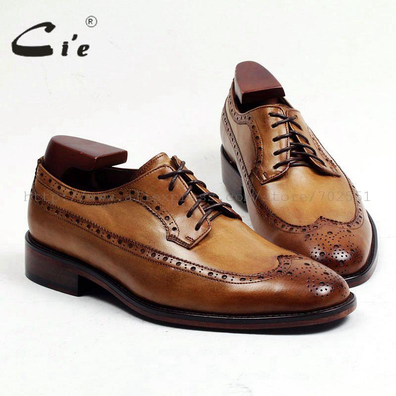 cie Round Toe Full Brogues Bespoke Custom Handmade Genuine Calf Leather Outsole Breathable Men's Derby Brown Lacing  shoe D146