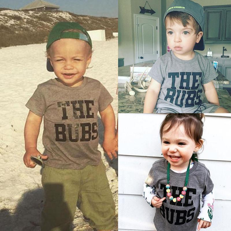 2017 New Casual Toddler Kids Boy Girl Summer Short Sleeve Letter Pirnt Cotton Top T-Shirt Children Clothes 1-6Y - EM