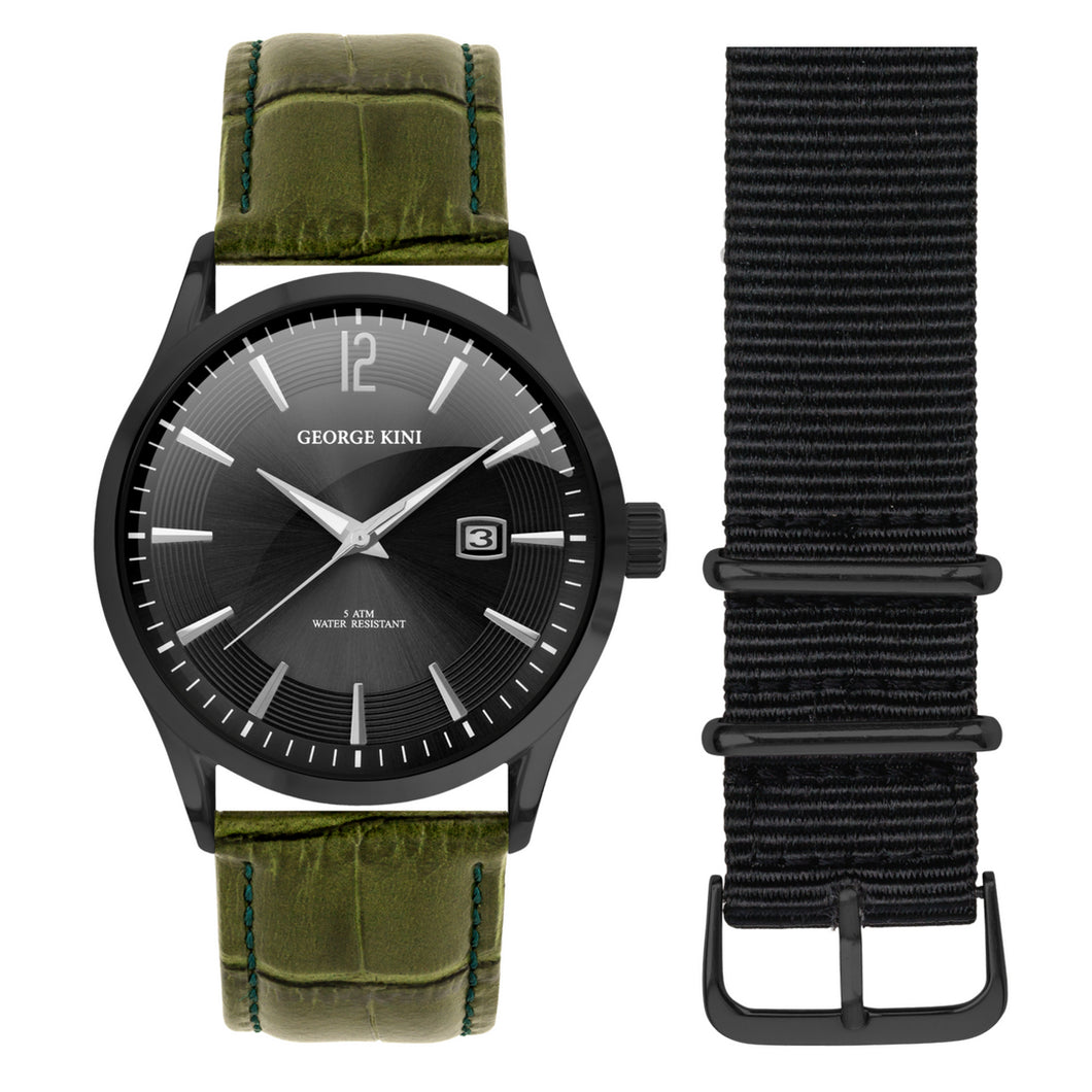 Classic Men's Watch With Genuine Green Leather and Black Dial