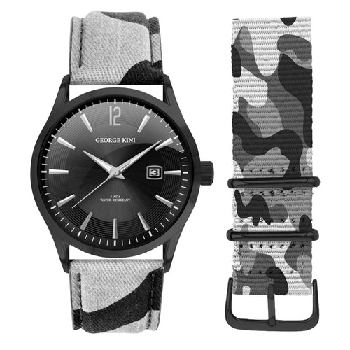 Black Camouflage Men's Watch With Black Dial