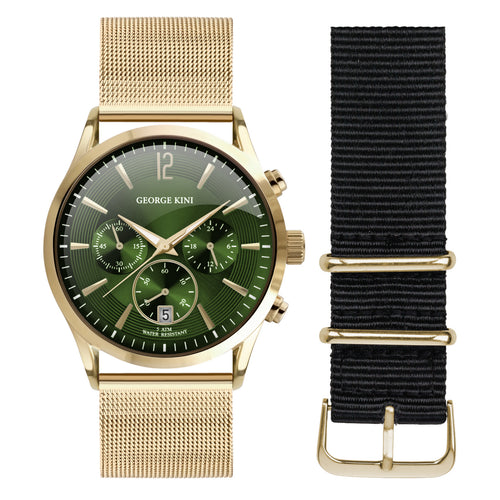 Classic Gold Men's Watch With Green Dial