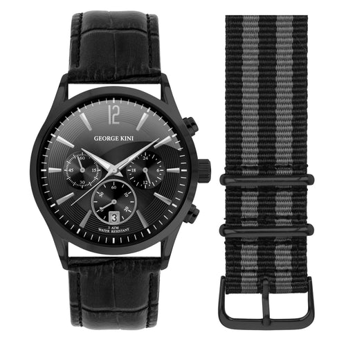 Classic Black Edition Men's Watch With Genuine Black Leather and Dial