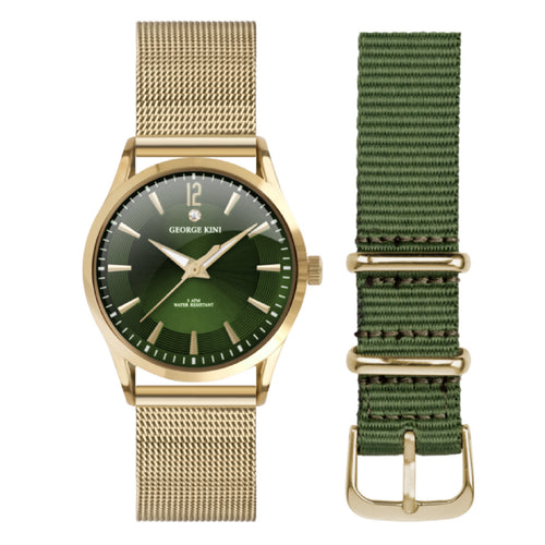 Classic Gold Women's Watch With Diamond and Green Dial