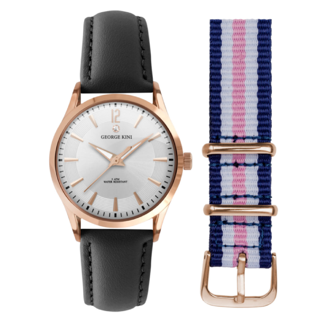 Classic Women's Watch With Genuine Black Leather and Rose Gold Dial