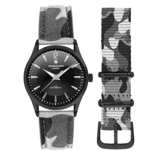 Black Camouflage Women's Watch With Diamond and Black Dial
