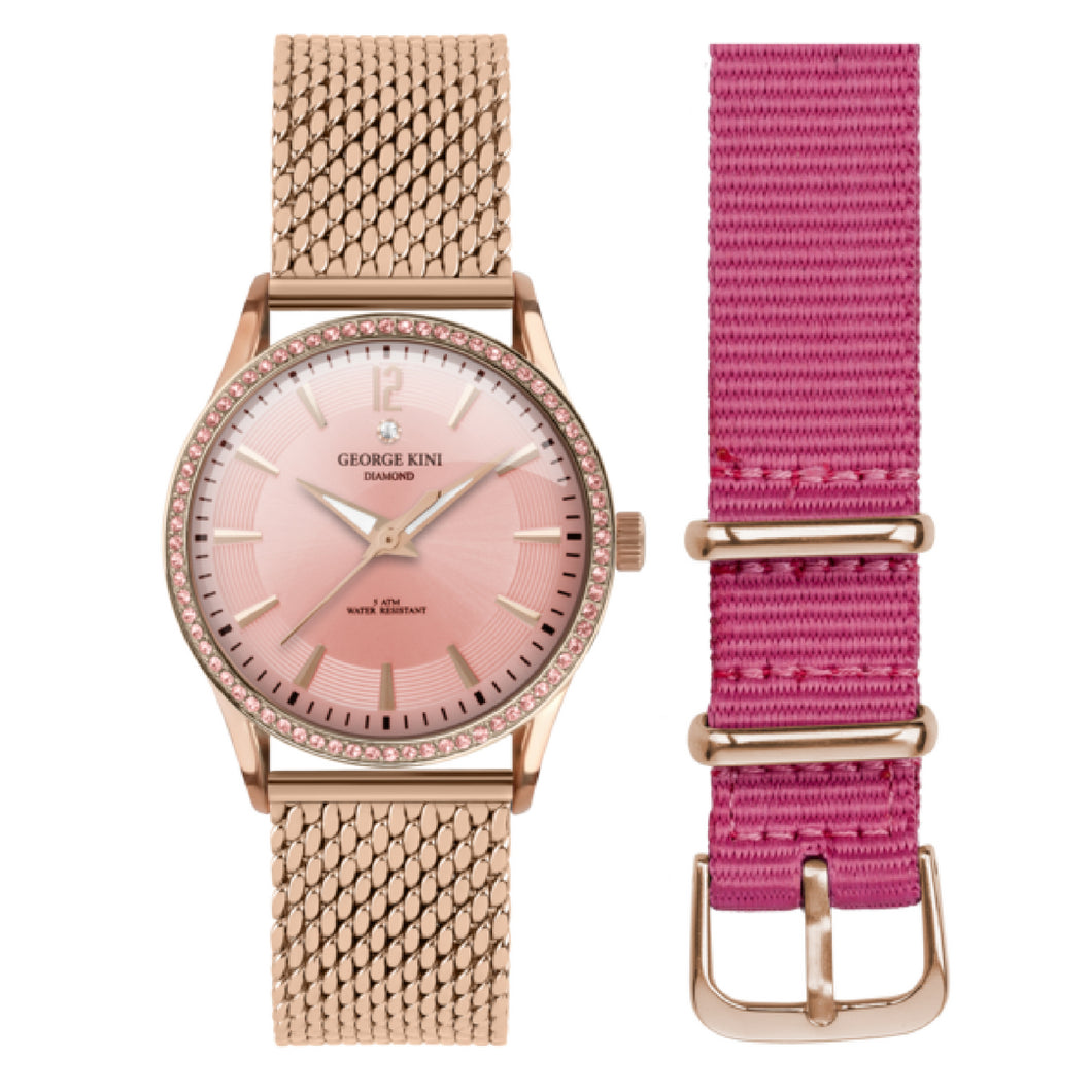 Classic Rose Gold Women's Watch With Crystals and Pink Dial