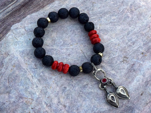 Black Lava Rock w/Sponge Coral and Kuchi charm Bracelet