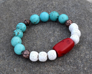 Bamboo Coral  w/White Lava Rock, Copper & Turquoise Bracelet