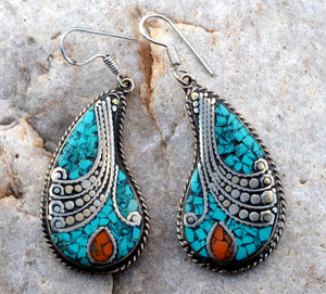 Nepali Pendant Turquoise & Coral Earrings