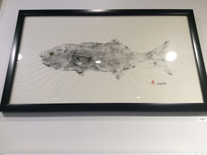 Black Blue Fish Original Framed