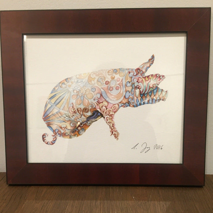 Pretty Pig - 2017 - Red Bank Artisan Collective jewelry art vintage recycled Animal Art, Asja Jung