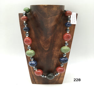 Ceramic beads, hematite cubes, silver plated spacers necklace created by Dorothea Drew Design central NJ