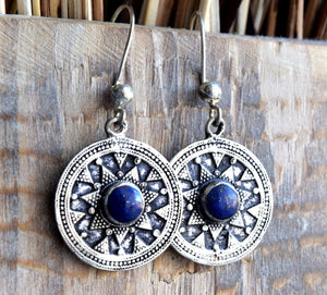 Lapis Lazuli Stone Round Silver Plated Earrings