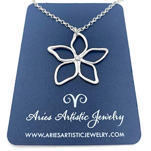 Flirty Hand Drawn Fine Silver Pointed Flower Necklace – Nature-Inspired