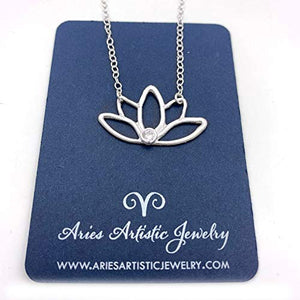 Hand Drawn Pure Silver Lotus Flower Necklace with Gemstone Accent