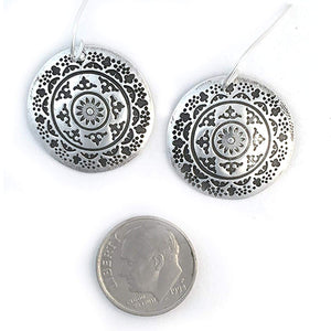 Large Round Silver Mandala Earrings
