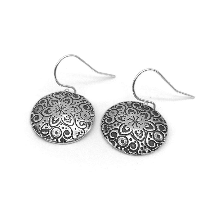 Small Round Silver Mandala Earrings