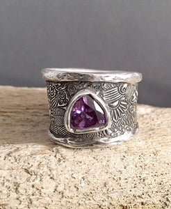 Sterling Silver Wide Band Ring with Gemstone Accent