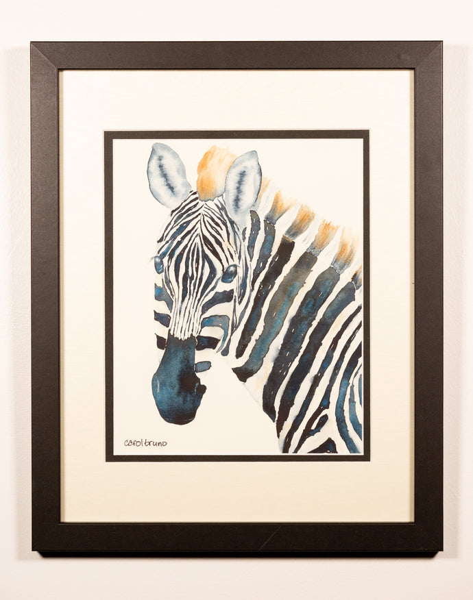 Watercolor Zebra - Red Bank Artisan Collective jewelry art vintage recycled Artwork, Yankee Girl Art