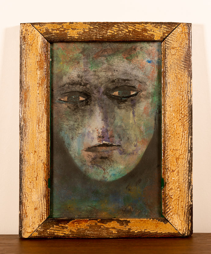 Rustic Wood Framed Face - Red Bank Artisan Collective jewelry art vintage recycled Artwork, Steve Schiro