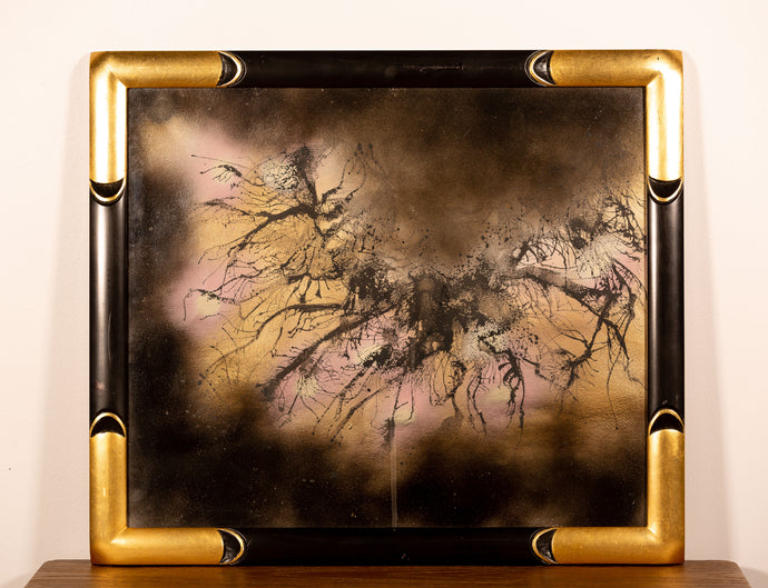 Black and Gold Framed Abstract - Red Bank Artisan Collective jewelry art vintage recycled Artwork, Steve Schiro