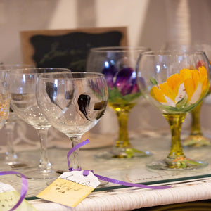 Glassware - Red Bank Artisan Collective jewelry art vintage recycled Wine Glasses, Susan's Art