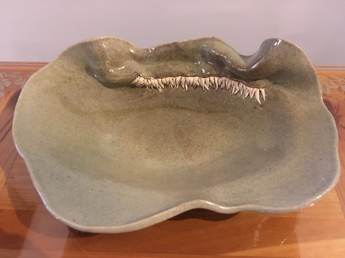 Celedon Spike Pottery Bowl - Red Bank Artisan Collective jewelry art vintage recycled Pottery, Spondylus Clay