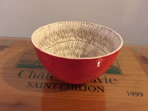 Feather Red Pottery Bowl - Red Bank Artisan Collective jewelry art vintage recycled Pottery, Spondylus Clay