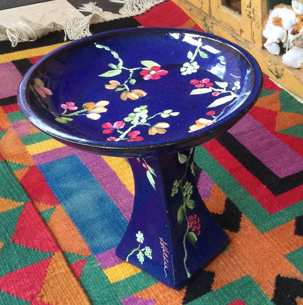 Hand-painted Flower Bird Bath