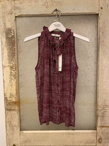 0039 Italy Burgundy Ruffled Blouse