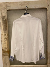 Vlt's by Valentina's  White Blouse w/Floral Cuffs