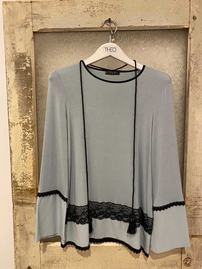 Tricot Chic Pale Blue Bell Sleeve Top