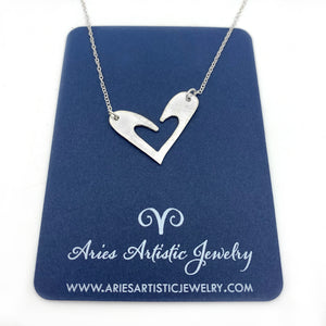 Sterling Silver Necklace with Whimsical Heart Pendant