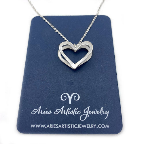 Sterling Silver Three Dimensional Heart Necklace