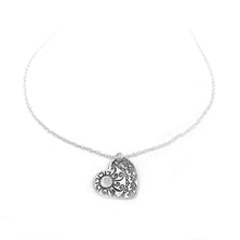 Small Sterling Silver Heart Necklace with Swirl and Sun Design