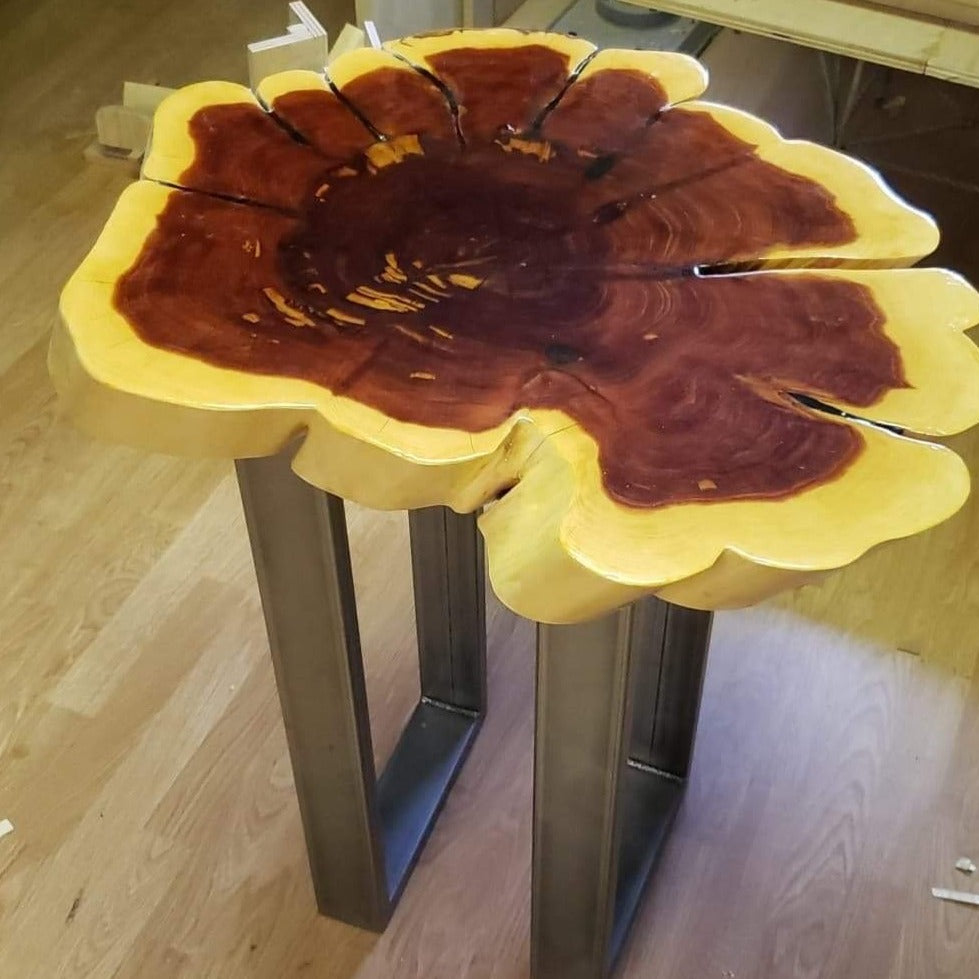 Red cedar table with metal legs created by RDK of NJ