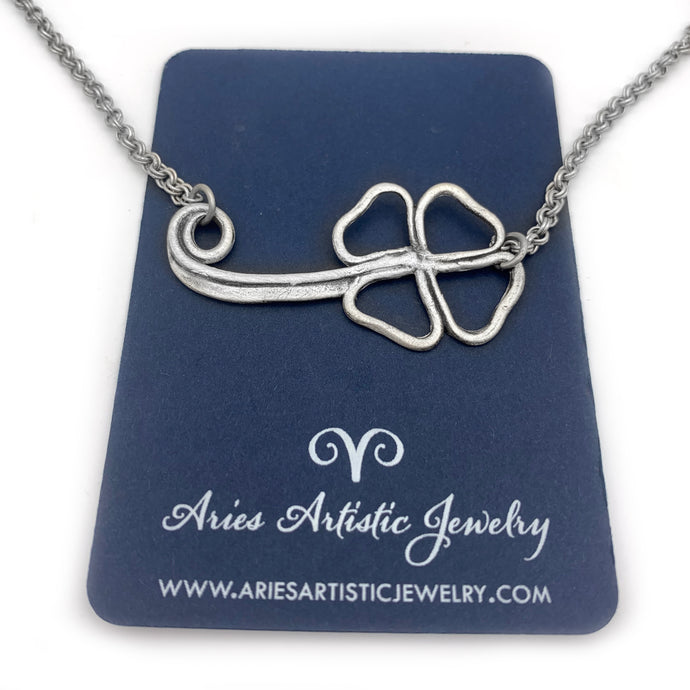 Sterling Silver Horizontal Open Clover Leaf Necklace