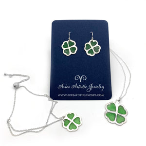 Sterling Silver Green Clover Leaf Necklace