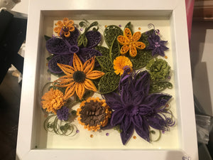 Quilling Purple / Yellow Flowers