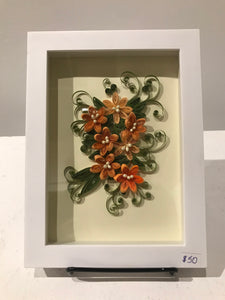 Quilling Peach Daisy's (Glass enclosed)