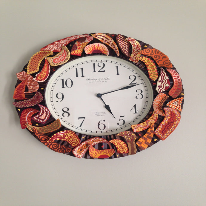 Orange & Brown Clam Shell Clock