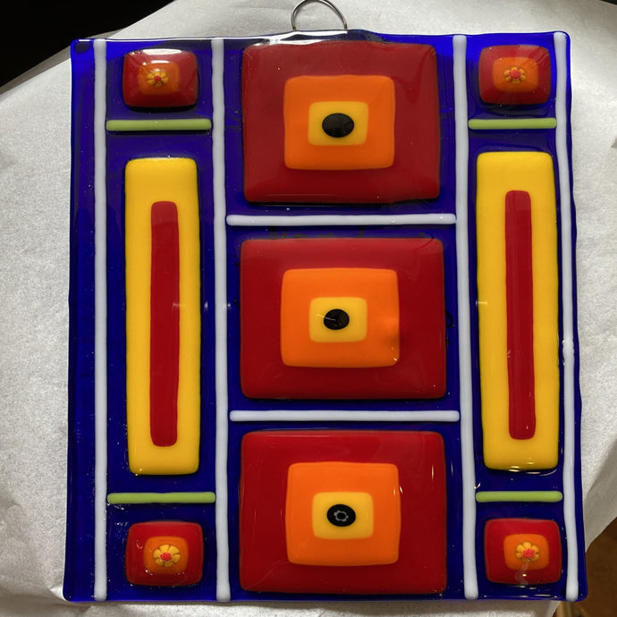 Squares Squared Fused Glass Panel