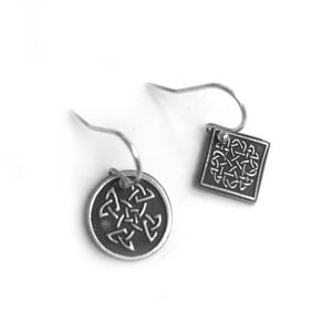 Mismatched Earrings with Celtic Knot Design
