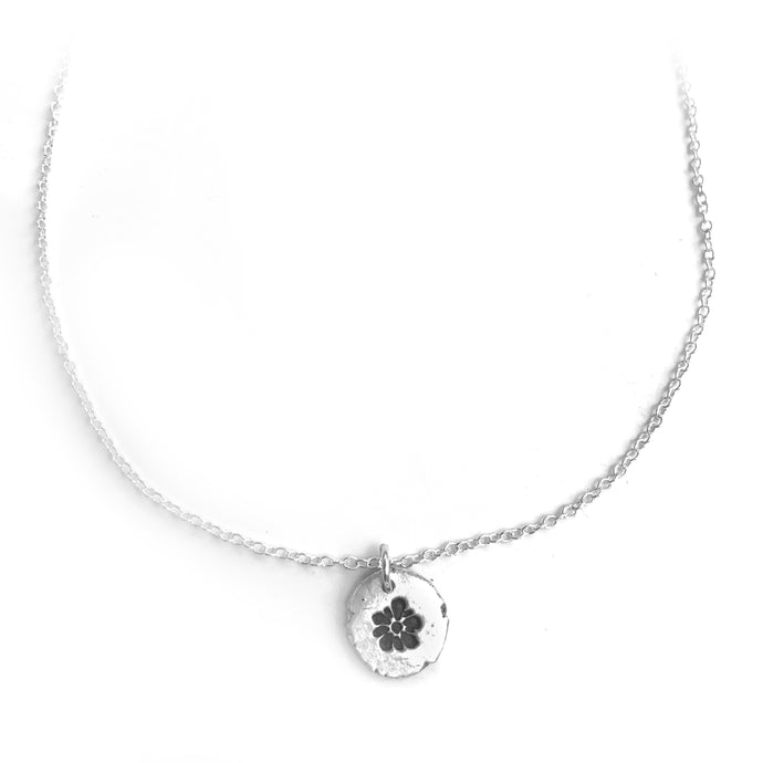 Pure Silver Flower Necklace Nugget Nature Jewelry