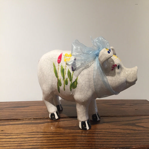 Hand-painted Ceramic Pig - Red Bank Artisan Collective jewelry art vintage recycled Ceramics, Susan's Art